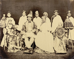 Jung Bahadoor with his principal wife, 2 daughters and slave girls